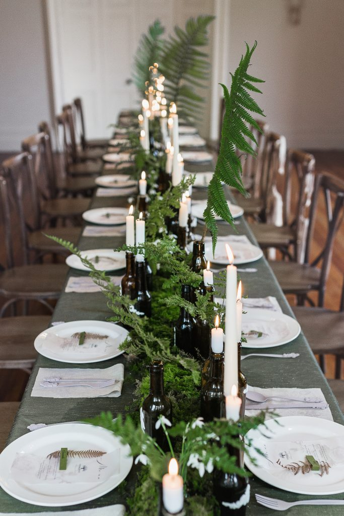 Dining table with greenery